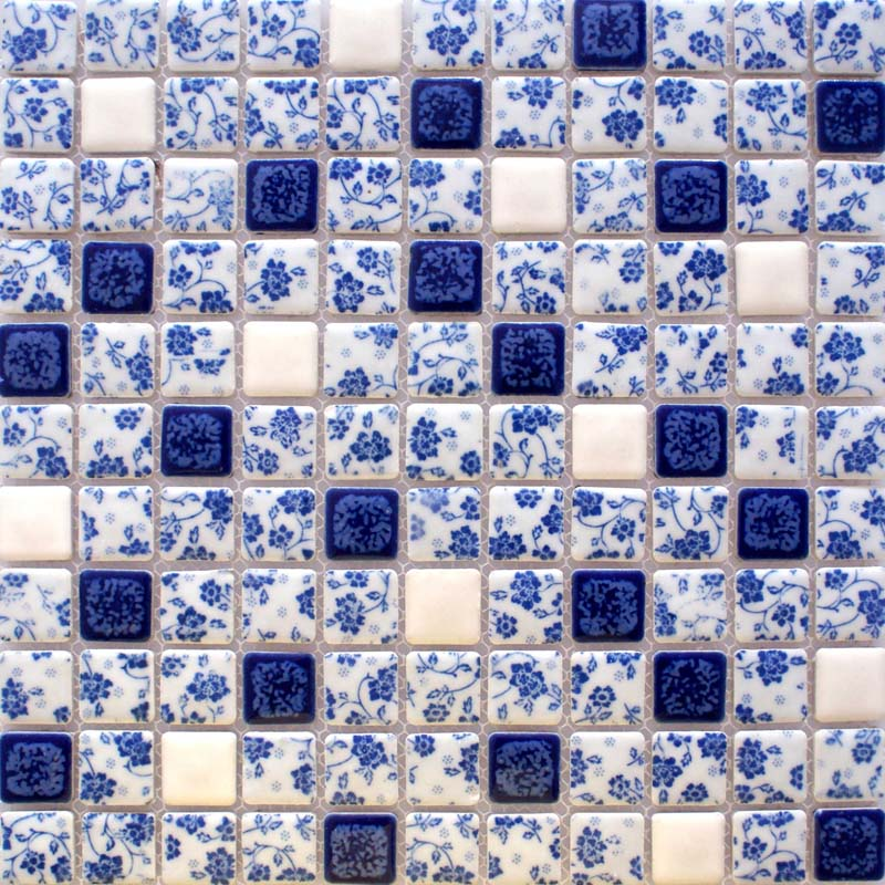 Blue And White Porcelain Tile Kitchen Backsplashes Glazed Ceramic Mosaic Bravotti Com