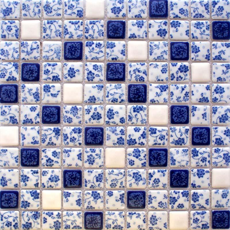 Blue And White Porcelain Tile Kitchen Backsplashes Glazed Ceramic Mosaic