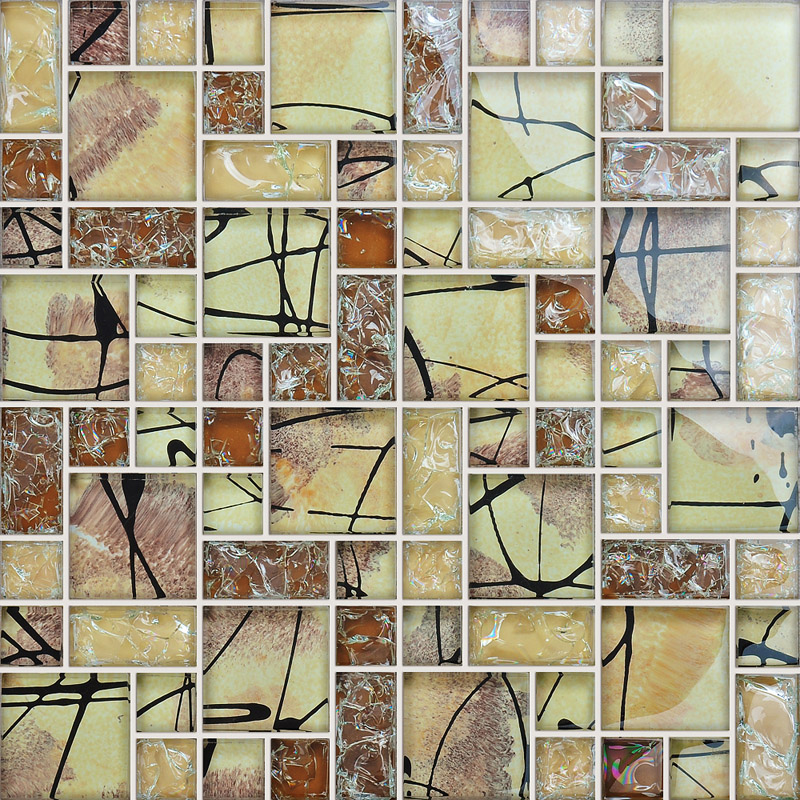 Crystal Glass Tile Backsplash Kitchen Crackle Glass Mosaic Tile Yellow  AG123 Bathroom Floor Sticker Mirror Decoration ...