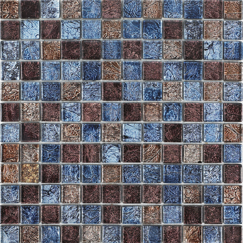 Glossy glass tile backsplash ideas bathroom mosaic sheets brown and blue for Glass mosaic tile backsplash bathroom