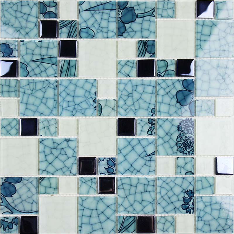 Crystal glass tile backsplash blue and white mosaic tiles for Bathroom mosaic design