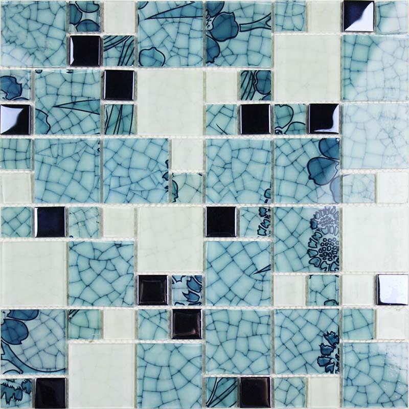 Crystal Glass Tile Backsplash blue and white Mosaic Tiles Crackle