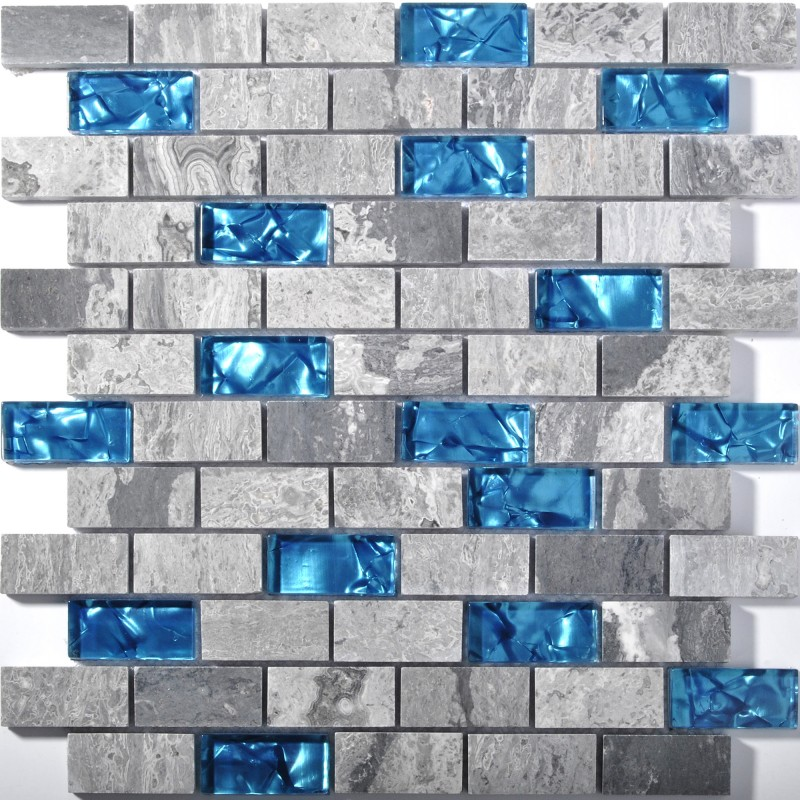 Blue Glass Tile Kitchen Backsplash Subway Marble Bathroom Wall Shower Bathtub Fireplace New