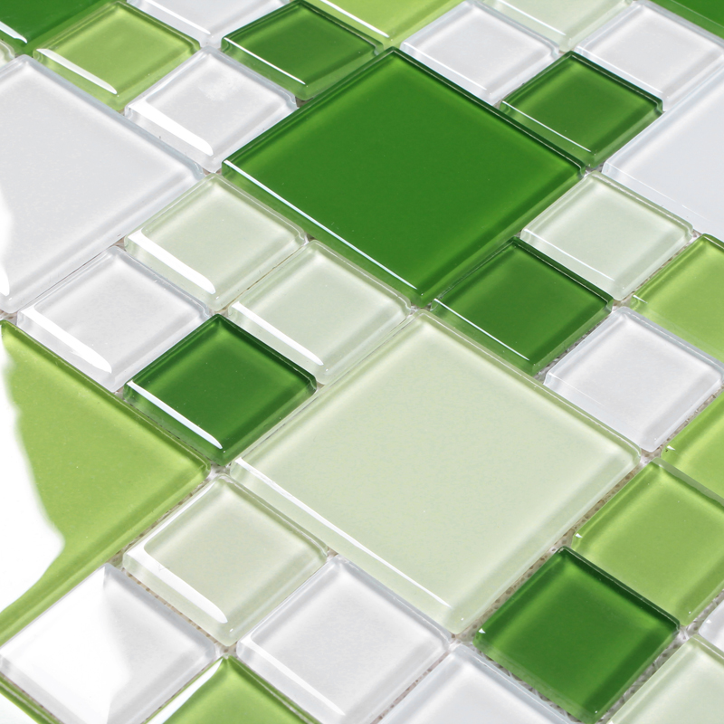 Green glass mosaic window countertop crystal glass tile for Back painted glass tile