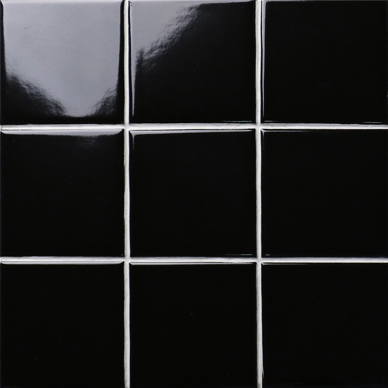 Black Gloss Kitchen Wall Tiles: Black SHINY Porcelain Tile NON-SLIP Tile Washroom Wall
