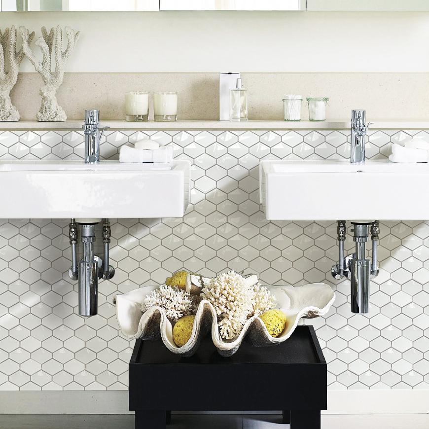White porcelain tile new art design high bake tile zero for Carrelage mural hexagonal