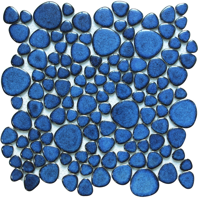 Blue porcelain pebble tiles heart-shape glazed wall tile mosaic |  Bravotti.com