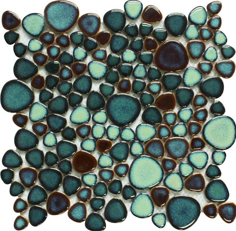 Pebble Stone Tile >> Green porcelain pebble tile heart-shaped mosaic glazed