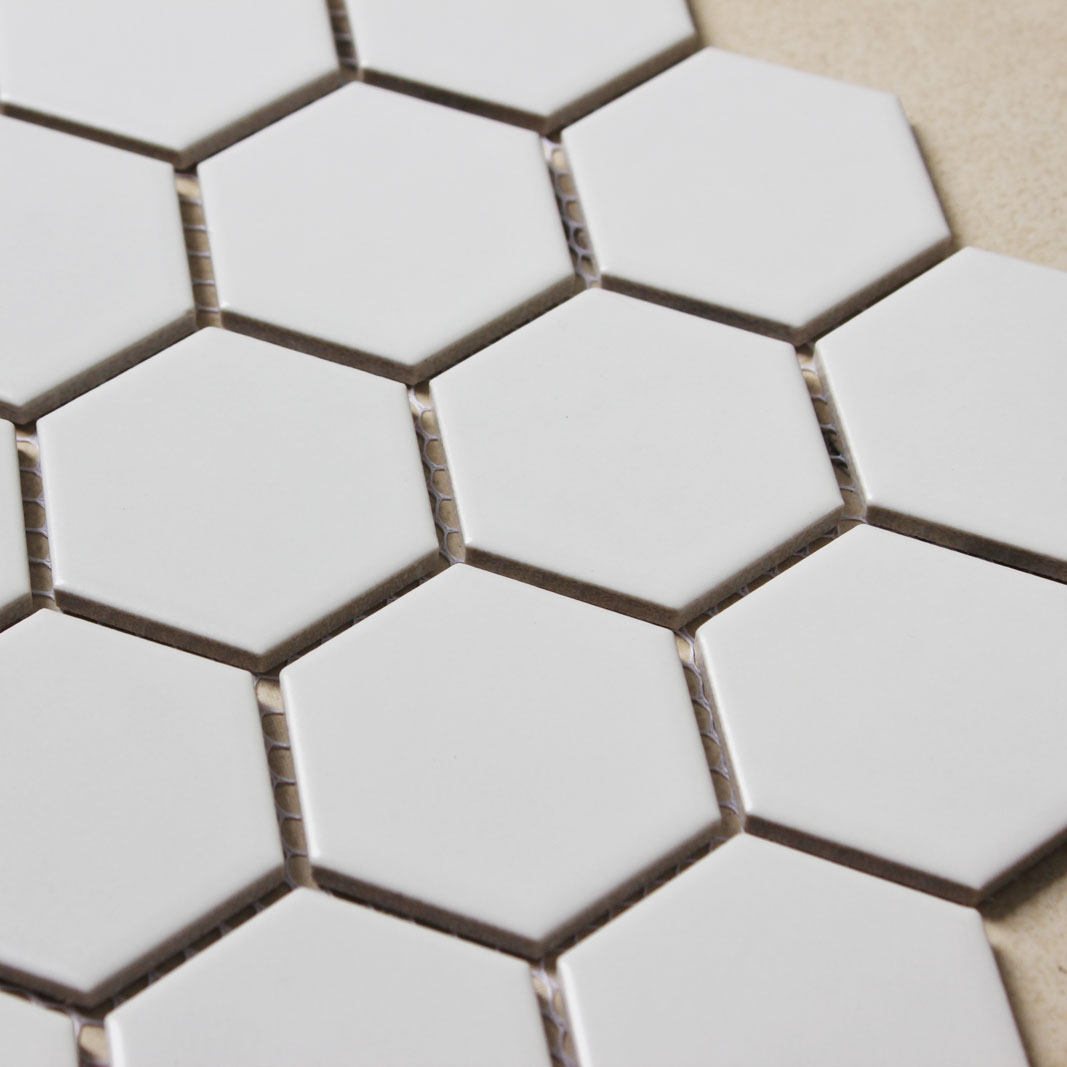 Hexagon porcelain tile white matte porcelain tile non slip for Porcelain tile bathroom floor slippery