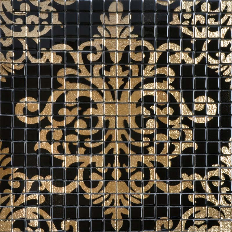 Glass mosaic tile murals black and gold crystal backsplash Mosaic tile wall designs