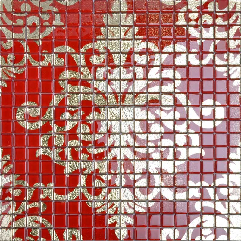 Crystal Gl Tile Backsplash Gold And Red Mosaic Murals Tmf008 Plated Patterns Puzzle Wall