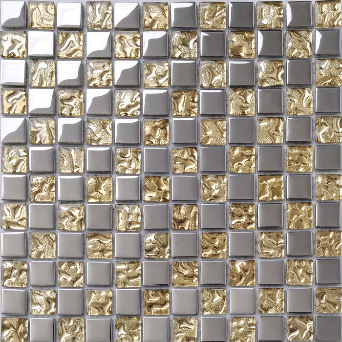 Crystal Glass Tile Sheets Metal Coating Tiles Mosaic Glass
