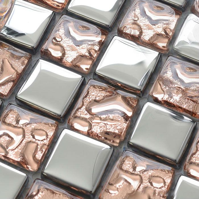 Glass Mosaic Tiles Silver Wallpaper Kitchen Backsplash