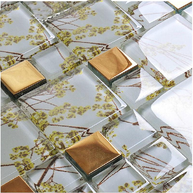 Glass Mosaic Tile Patterns Plated Gold Crystal Glass Backsplash Tiles Bathroo