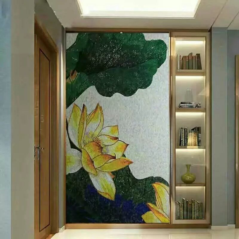 hand made flower tile crystal glass mosaic tile wall murals tiles
