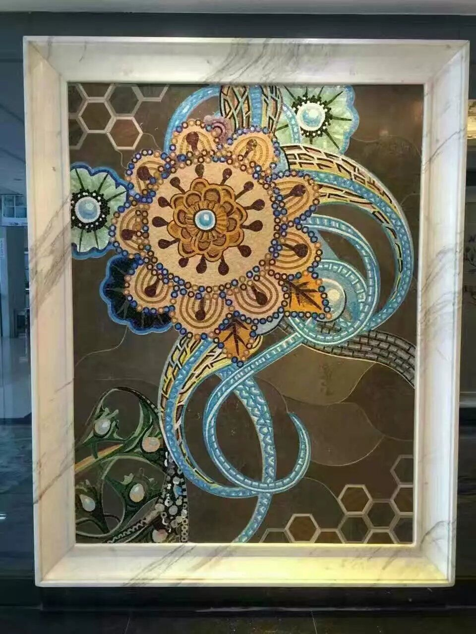 Hand Made Flower Tile Crystal Glass Mosaic Tile Wall