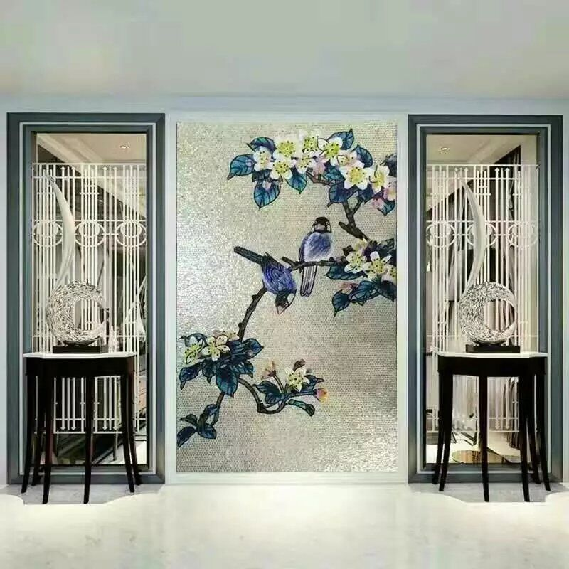 hand made flower tile crystal glass mosaic tile wall murals puzzle tiles