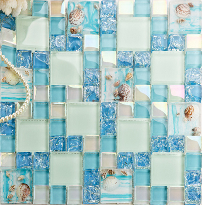 Cracked Blue Glass Mosaic Mediterranean Style Resin With