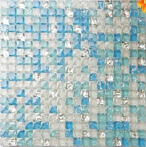 Sea blue tile backsplash crystal glass mosaic crackle patterns shower wall tile design glossy Bathroom tiles design catalog