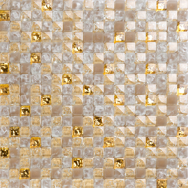 Yellow Crystal Glass Tiles For Kitchen And Bathroom Wall Shower Tile  Designs Gold Crackle Glass Mosaic ...