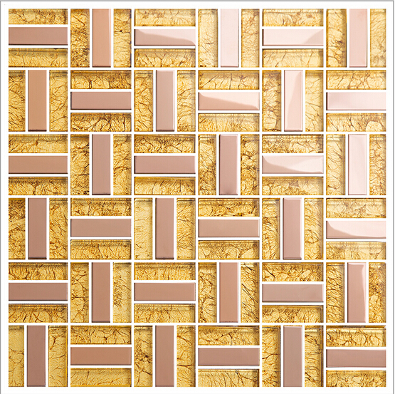 Gold Crystal Glass Tiles For Kitchen And Bathroom Metal