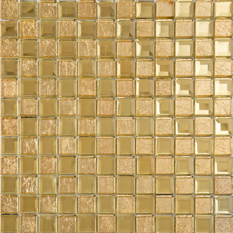 Gold Mirror Glass Diamond Crystal Tile Patterns Square Wall ...