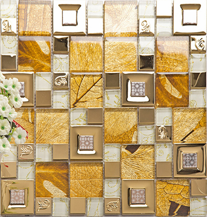 Gold 304 Stainless Steel Tile Metal Tiles Yellow Crystal