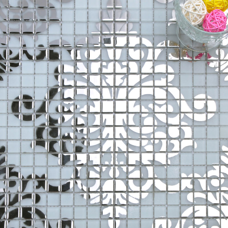 Silver glass mosaic tile wall murals backsplash plated crystal glass ...