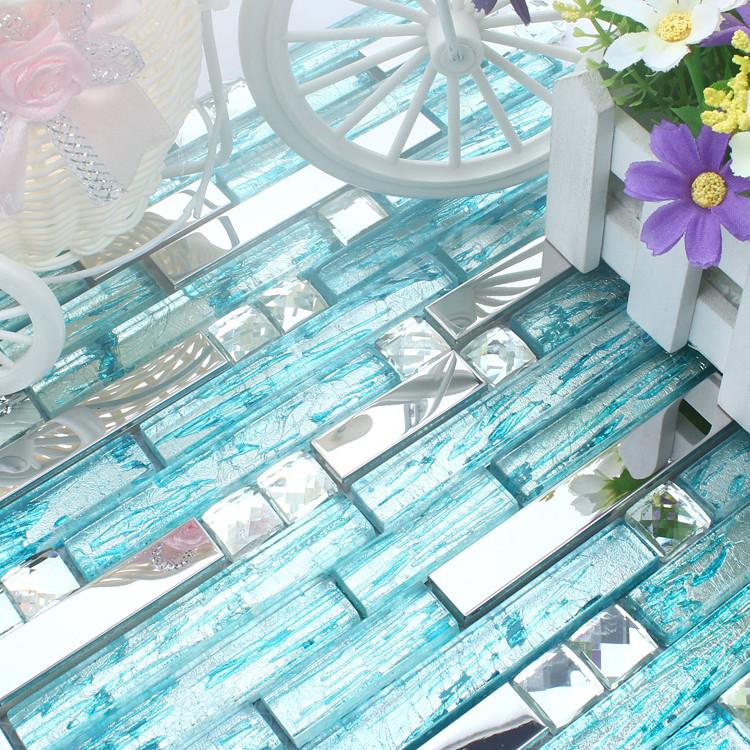 stainless steel backsplash blue glass mosaic tiles kitchen back splash