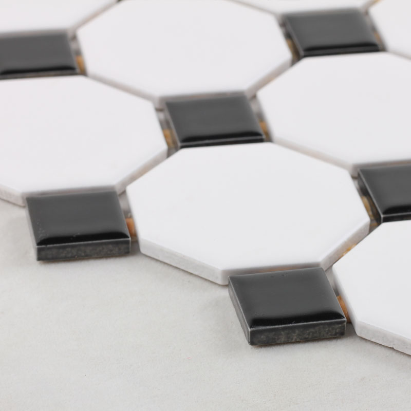 Glazed porcelain mosaic octagonal & dot black and white ceramic ...
