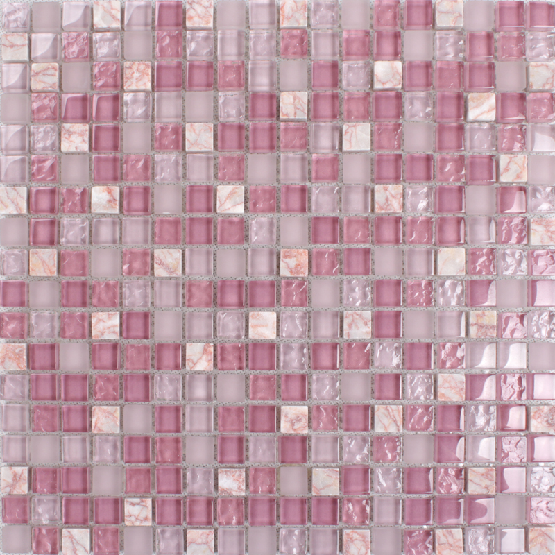 Pink Gl Stone Tile Mosaic Square 3 5 Frosted Tiles Kitchen Backsplashes Natural
