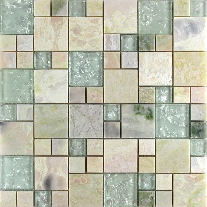 Crystal Glass Tile sheets Stone mix Glass Mosaic Wall Tiles Glass ...