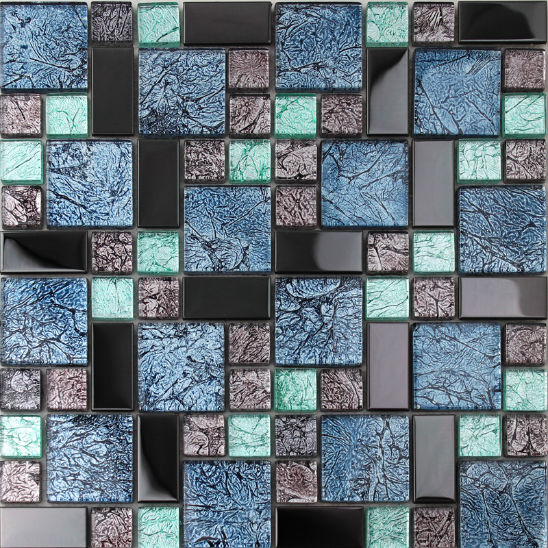 Black Stainless Steel Backsplash Metal Glass Mosaic Tile
