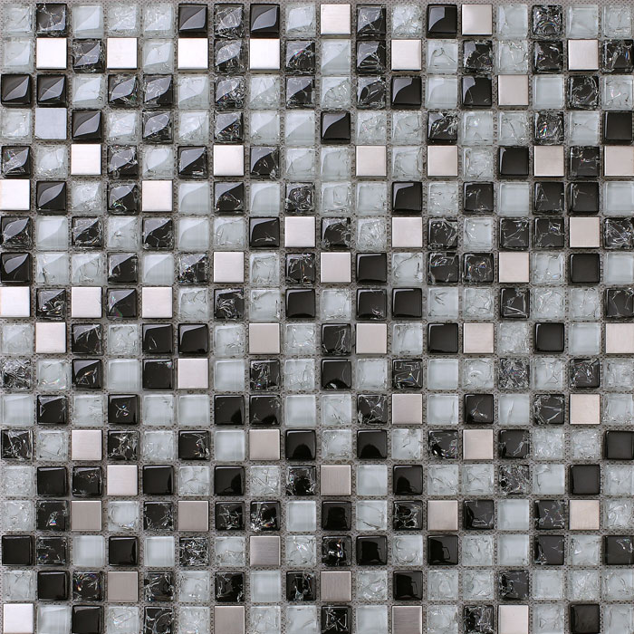 black and white mosaic tile crackle glass stainless steel