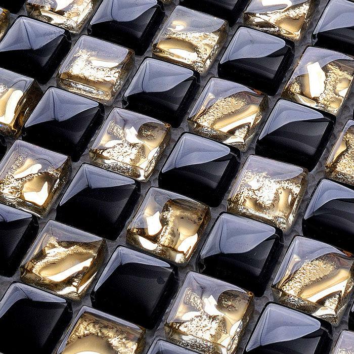 Random Kitchen Tile Patterns: Crystal Glass Mosaic Tile Backsplash Gold & Black Blend Random Plating Pattern Design Crystal