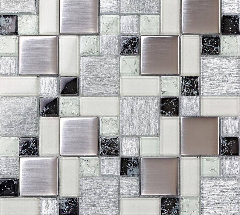 Crystal glass tile backsplash satin patterns silver plated glass
