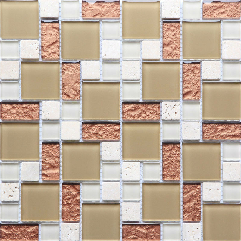 Glass Tile Backsplash Kitchen Design Crystal Stone Blend Mosaic Natural Marble Stickers Bathroom