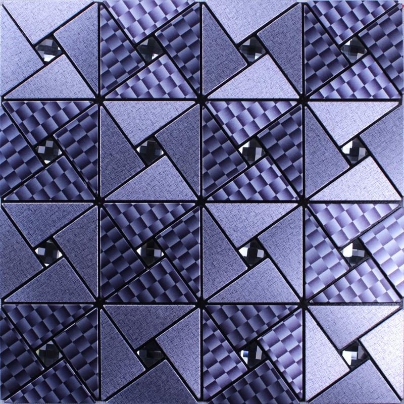 Metal glass diamond tile peel and stick wall tiles adhesive mosaic ...