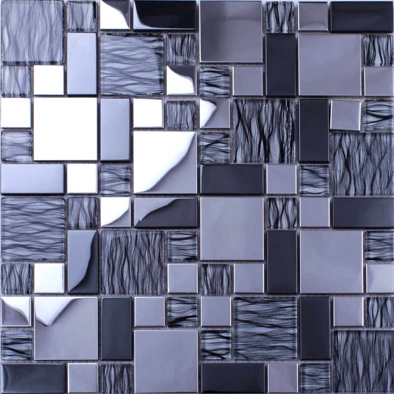 Crystal Mosaic Tiles Random Metal Coating Mosaics Mesh Mounted Tile Sheet Kitchen Wall Backsplash Washroom