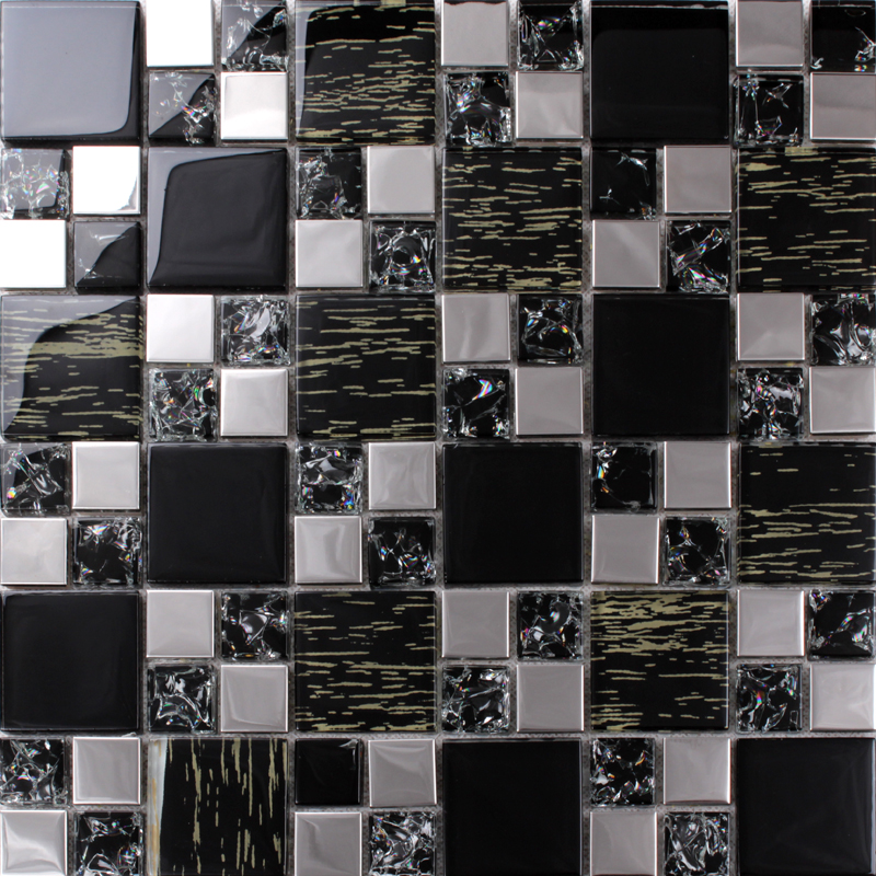 Silver Kitchen Wall Tiles: Silver Stainless Steel Black Crystal Glass Tile Backsplash