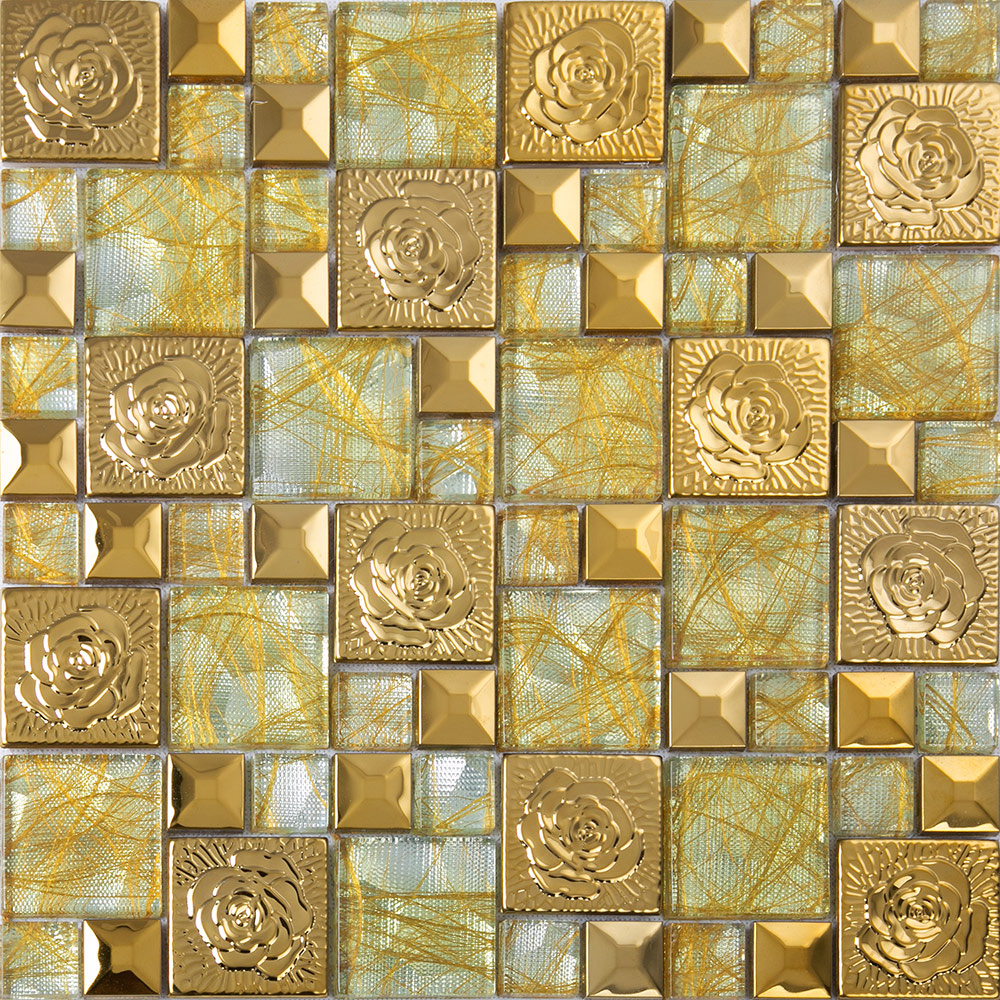 Gold 304 Stainless Steel Flower Patterns Mosaic Glass Wall