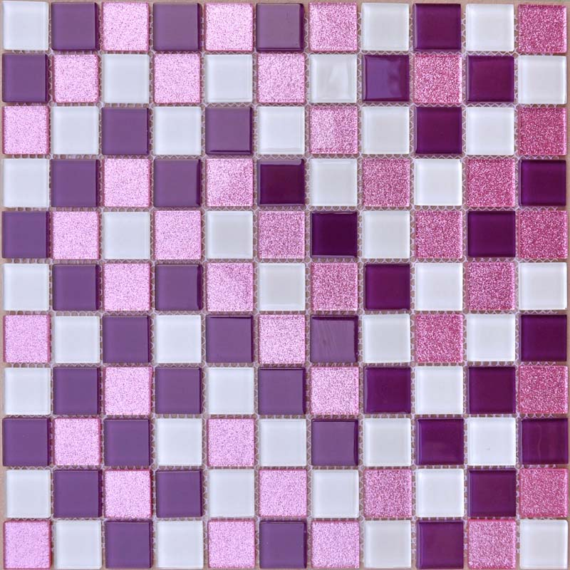 Crystal Glass Mosaic Sheets Purple Wall Stickers Kitchen Backsplash