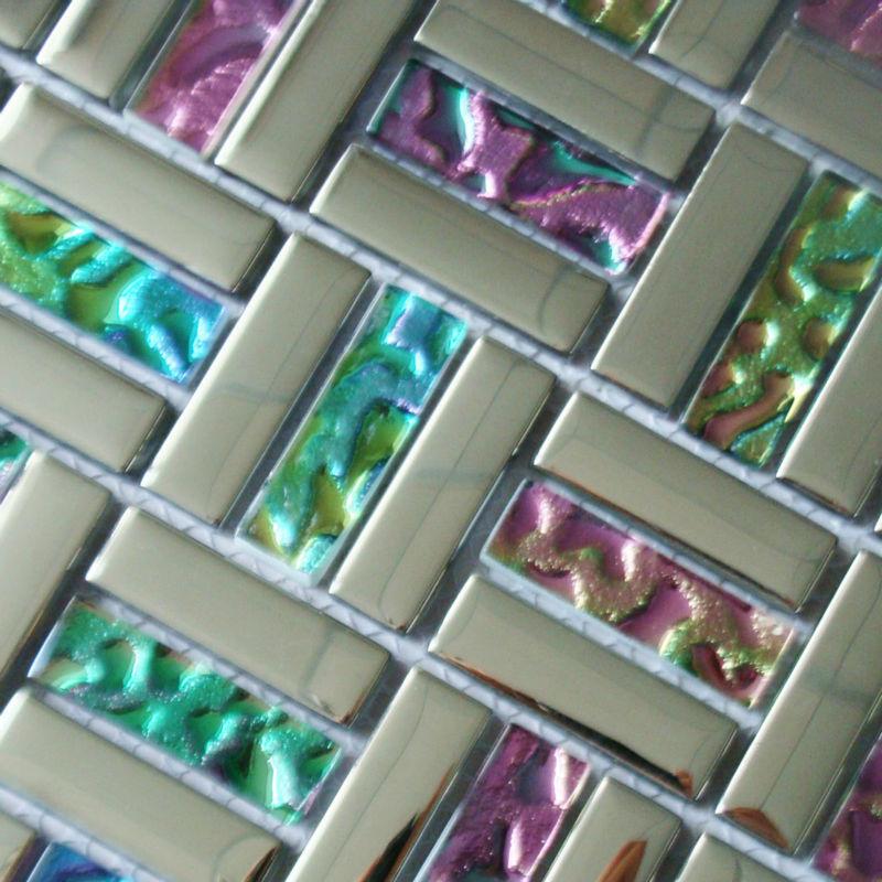 Glass Mosaic Backsplash Tiles Silver Iridescent Tile Metal Coating Tile  Crystal Mosaic Wall Brick Colorful Shower Tiles RZG021JY