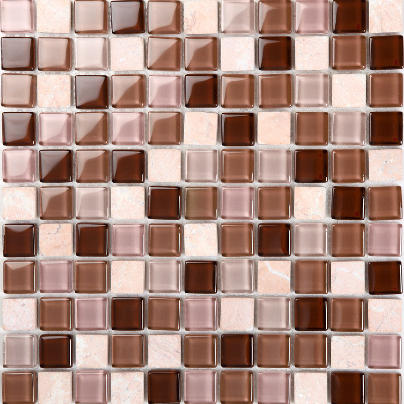 crystal glass tile backsplash stone glass blend mosaic