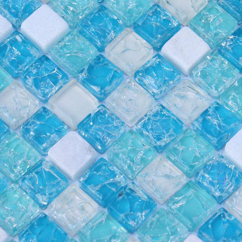 Superbe Cream Stone And Glass Tile Backsplash For Kitchen And Bathroom Crackle Blue  Sea Crystal Glass Mosaic ...