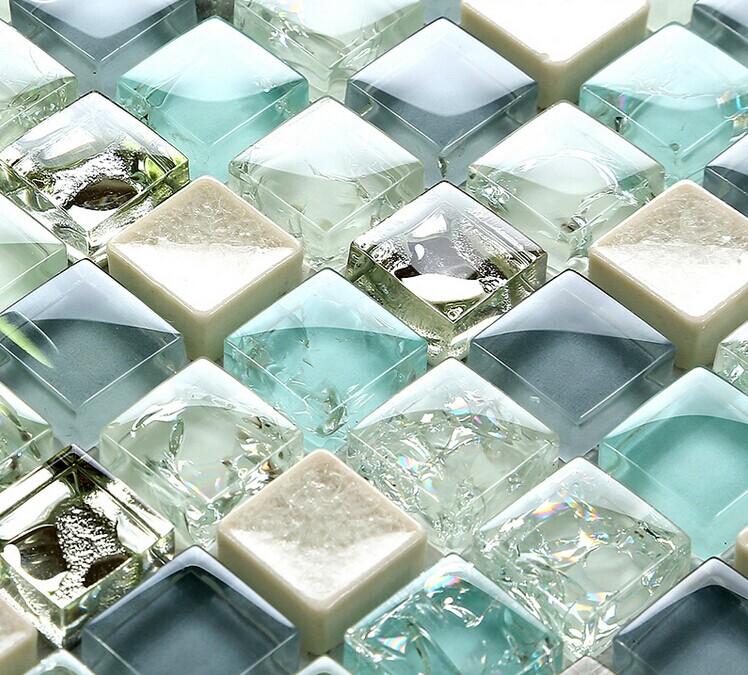 Blue Ice Crack Glass Tile Mosaic Sheets Beige Crackle