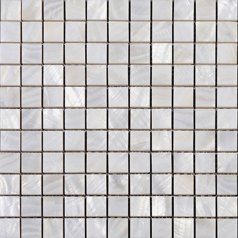 Mother Of Pearl Square Mosaic Backsplash White Natural Shell Materials 1 Seashell With Base Wall