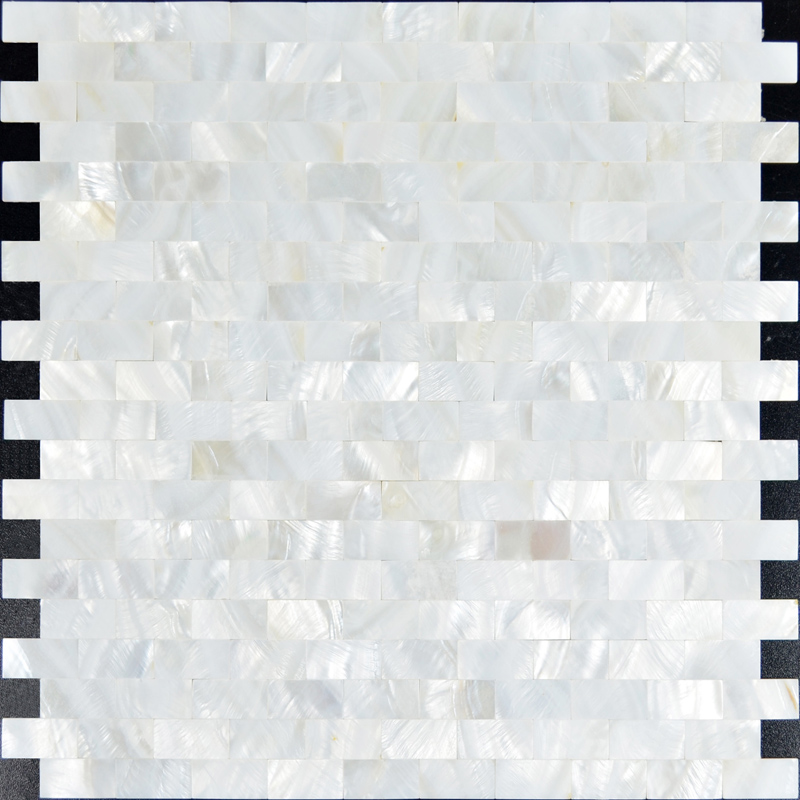 Mother of pearl subway tile backsplash for kitchen and for Large glass wall tiles