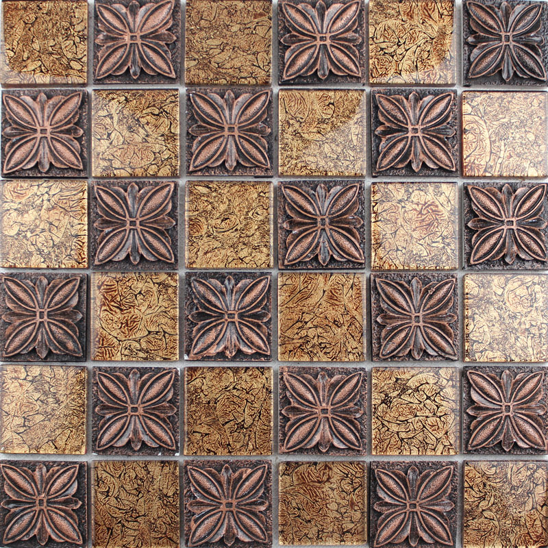 Glass Mosaic Tile Sheets Embossed Patterns Resin T1265