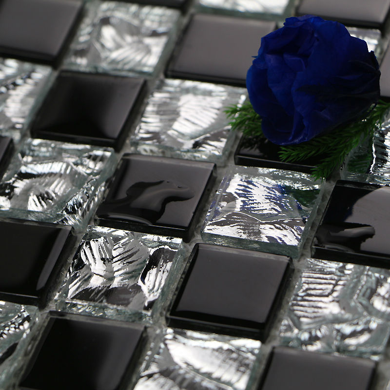 Black Glass Tile Backsplash Crystal Mosaic Wall Tile